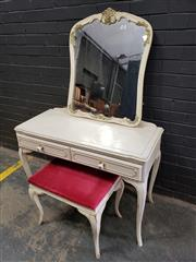 Sale 9034 - Lot 1040 - French Style Dresser together with a Mirror and a Stool (H:72 W:101 D:44cm)