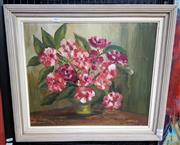 Sale 9077 - Lot 2033 - Emily Griffen-Cave, Pink Wildflowers, oil on board, frame: 52 x 60, signed lower right
