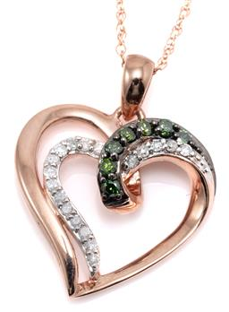 Sale 9160 - Lot 374 - A 10CT ROSE GOLD GREEN AND WHITE DIAMOND PENDANT NECKLACE; open double heart set with round brilliant cut white and treated green di...