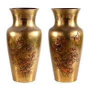 Sale 8000 - Lot 186 - A pair of Meiji bronze baluster vases with floral and bird decoration.