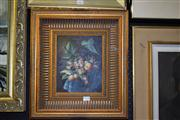 Sale 8410T - Lot 2068 - Oil on Board A Bow of Grapes 24x19cm