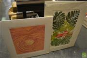 Sale 8471 - Lot 2077 - Lino Cut Papaya & Another, both signed