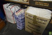 Sale 8530 - Lot 2194 - Box & 2 Bags of Manchester & Cushions