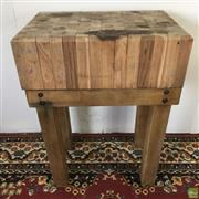 Sale 8649R - Lot 17 - Butchers Block on Timber Stand (82 x 59 x 39cm)