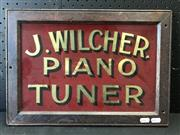 Sale 9002 - Lot 1088 - Vintage Glass Piano Tuner Sign (h:30 x w:33cm)