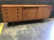 Sale 9002 - Lot 1063 - Vintage Teak Sideboard with 2 Sliding Doors and 4 Drawers (h:75 x w:183 x d:40cm)