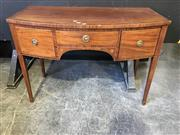 Sale 9048 - Lot 1010 - Small George III Mahogany Bow Front Sideboard, with satinwood banded edge, having a central knee hole with shallow drawer & flanke...