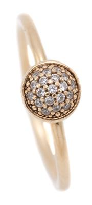 Sale 9083 - Lot 536 - A PANDORA 14CT GOLD DAZZELING DROPLET RING; full round band applied with a cup collet pave set with 19 round brilliant cut zirconias...