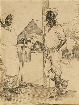 Sale 9091 - Lot 2011 - B. E Minns (1864 - 1937) Drover Returns Home, 1915 pen and ink drawing (AF- foxing) frame, 34 x 30cm, signed -