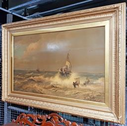 Sale 9126 - Lot 1024 - Late 19th/ Early 20th Century German Maritime Chromolithograph Stormy Seas, published by Edm. Gaillard, Berlin, with resin glaze,...