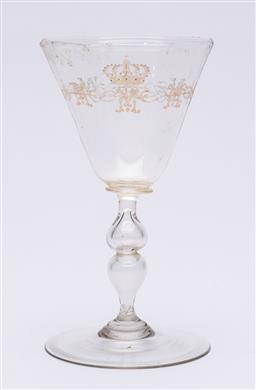 Sale 9170H - Lot 58 - An c19th blown glass goblet bearing initial M, purported to have belonged to Queen Margarita House of Savoy d.1926 , Height 16.5cm