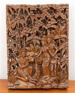 Sale 9239H - Lot 57 - An Indonesian carved timber panel depicting figures, H51cm x W 38cm x D 9cm.