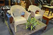 Sale 8124 - Lot 1048 - Pair Of Wicker Outdoor Chairs