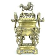 Sale 8273 - Lot 10 - Bronze Gilded Three Piece Censer