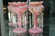 Sale 8340 - Lot 8 - Victorian Pair of Pink Lustres