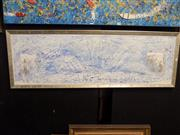 Sale 8417T - Lot 2055 - Mark Lobert - Sydney Harbour Bridge, acrylic on board, 37 x 120cm, signed verso