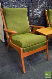 Sale 8532 - Lot 1277 - Pair of Vintage Green Upholstered Armchairs