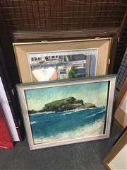 Sale 8707 - Lot 2058 - 3 Works: Prince: Plesson - Sea Cottage, oil on canvas, SLL; Coastal Scene, oil on board, SLL; Hilary Beck - Lisbon, acrylic on board...