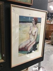 Sale 8753 - Lot 2091 - Val Landa (1940 - ) - Face of Innocence acrylic on paper, 78.5 x 59cm (frame), signed lower right -