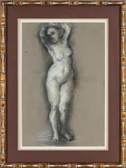 Sale 8797 - Lot 2098 - Artist Unknown - Standing Nude pastel, 54 x 36cm, indistinct signature lower right -