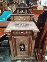 Sale 8831 - Lot 1013 - Interesting 19th Century Italian Renaissance Style Marquetry & Carved Walnut Bedside Cabinet, with bone & pewter inlaid panel of che...