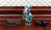 Sale 8815A - Lot 47 - An art glass sculpture of swimming fish, Height 37cm together with a Spanish blue art glass starfish dish and one other