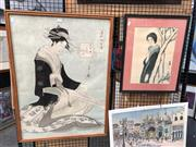 Sale 8816 - Lot 2023 - 2 Works: Japanese Decorative Print of a Geisha on ricepaper, 85.5 x 62cm (frame), together with another Japanese Print