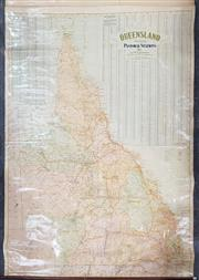 Sale 8868 - Lot 1023 - Map of Queensland Pastoral Stations & Districts, on canvas, by H E C Robinson Ltd Sydney