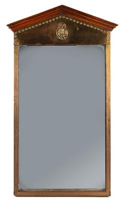 Sale 9123J - Lot 129 - Brass encased mirror with a timber Corinthian style pediment, height 119 x width 69cm