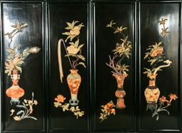 Sale 9093P - Lot 11 - Set of 4 Chinese Black Lacquer and Semi-Precious Stone Inlaid Panels of the Seasons (Panel size - 89x30cm)