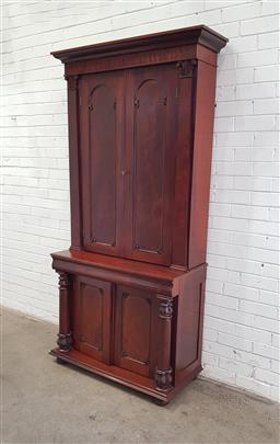 Sale 9126 - Lot 1021 - William IV Blind Mahogany Bookcase or Cabinet, with two arched timber panel doors flanked by pilasters, above a frieze drawer & two...