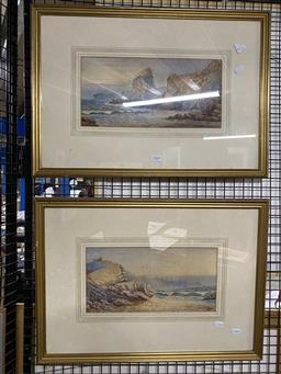 Sale 9176 - Lot 2060 - J Cocks (C19th) (2 works) Coastal Scenes,1890 watercolours, 17 x 36cm (each), signed and dated -