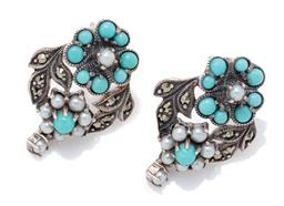 Sale 9209J - Lot 365 - A PAIR OF SILVER STONE SET FORGET ME NOT EARRINGS; double clusters set with seed pearls and turquoise adjacent to marcasite set leav...