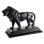 Sale 8000 - Lot 311 - Antoine Louis Barye (1795-1875) A green patinated bronze figure of a lion marchant on a later marble base, signed on the base BARYE.