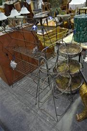 Sale 8039 - Lot 1075 - 3x Three Tier Planter Stands Together With Two Three Tier Basket Stands