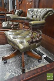 Sale 8282 - Lot 1041 - Victorian Style Beech Office Chair, in green buttoned leather & turned gallery (missing one castor)