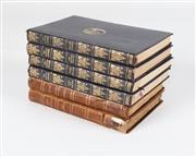 Sale 8342A - Lot 141 - Four antique volumes of plays by J.M.Barre in blue leather binding, together with two brown leather volumes by Oliver Goldsmith
