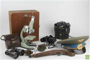 Sale 8546 - Lot 159 - Microscope with 3 Binoculars & 2 Compasses, a Russian Military Hat &  a Wooden Model Pistol A/F