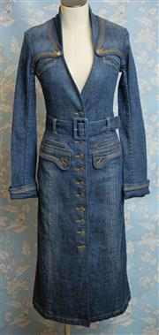 Sale 8577 - Lot 135 - A Sass & Bide designer denim coat/ dress with Sass & Bide embossed fly buttons and belt, size 8, Condition: Excellent