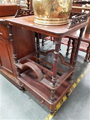 Sale 8693 - Lot 1004 - Victorian Walnut & Marquetry Whatnot Canterbury, with pierced gallery back to shelf, on turned supports with dividers below & a drawer