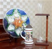 Sale 8815A - Lot 79 - An argyle yard glass and a painted milk glass stein together with a hand made glass passover plate by Hanna bahral