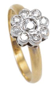 Sale 8915 - Lot 372 - A VINTAGE 18CT GOLD DAISY CLUSTER DIAMOND RING; rhodium plated cluster set with 9 round brilliant cut diamonds totalling approx. 0.2...