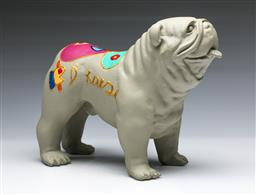 Sale 9098 - Lot 66 - A Hannes DHaese Painted English Bulldog In Grey (crack to mouth) (L: 24cm)