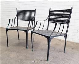 Sale 9102 - Lot 1315 - Pair of painted Cast Alloy Outdoors Chairs with woven strapwork design (h84 x w52 x 54cm)