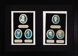 Sale 9130H - Lot 46 - Two framed book plates by Vin. Franceschini after Io. Dom. Campiglini depicting blue ground plaques, with Latin inscriptions under e...