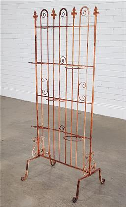 Sale 9188 - Lot 1741 - Rustic metal gate style plant stand (h136 x w56 x d45cm)