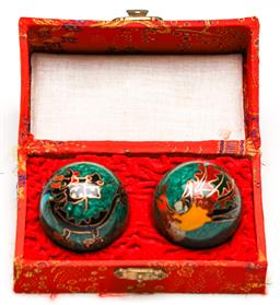 Sale 9246 - Lot 92 - A cased set of Chinese stress balls featuring a chicken and a dragon