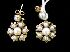 Sale 7358 - Lot 56 - A PAIR OF 9CT GOLD AND PEARL FLOWER EARRINGS ON POST AND BUTTERFLY FITTINGS.