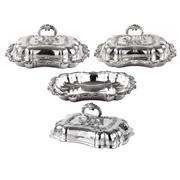 Sale 8000 - Lot 262 - Three Walker and Hall Sheffield Plate entree dishes with acanthus leaf border. Marked to base and two with monogramme MM.