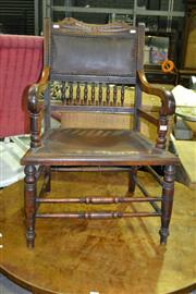 Sale 8093 - Lot 1497 - Antique Timber Carver with Spindle Gallery and Leather Seat